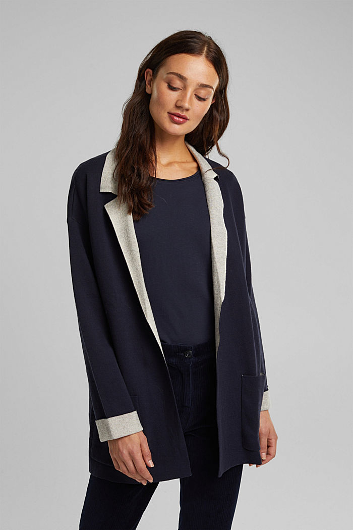 Long cardigan with organic cotton, NAVY, detail image number 0