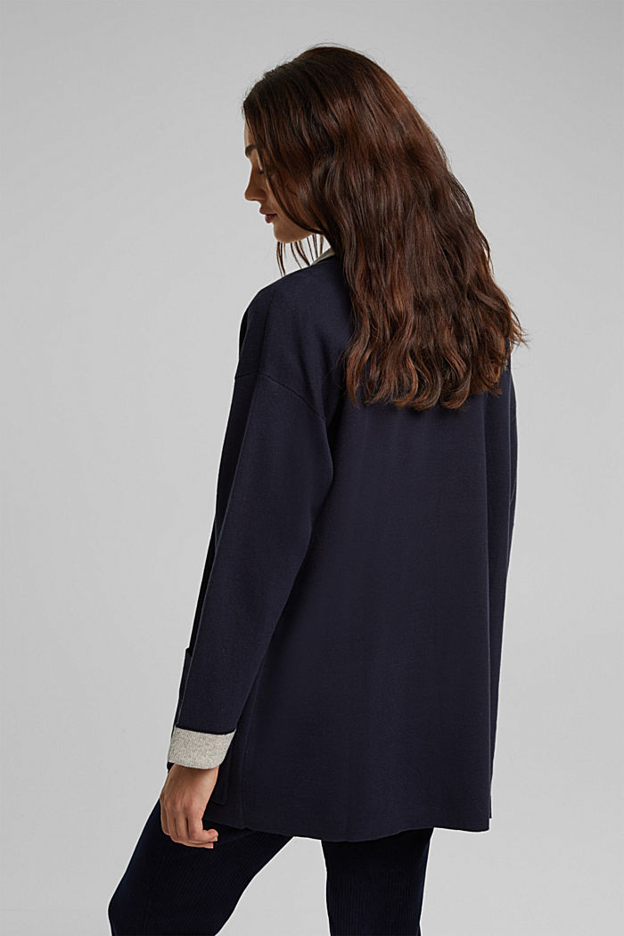 Long cardigan with organic cotton, NAVY, detail image number 3