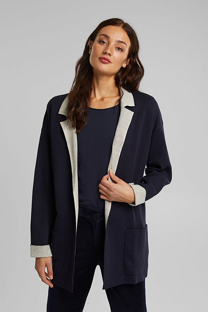 Long cardigan with organic cotton, NAVY, detail image number 5