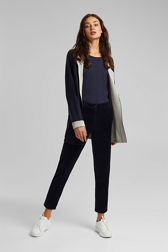 Long cardigan with organic cotton, NAVY, detail image number 1