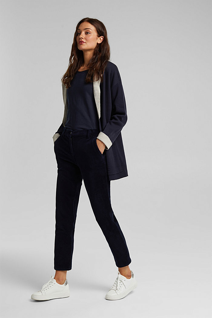 Long cardigan with organic cotton, NAVY, detail image number 6