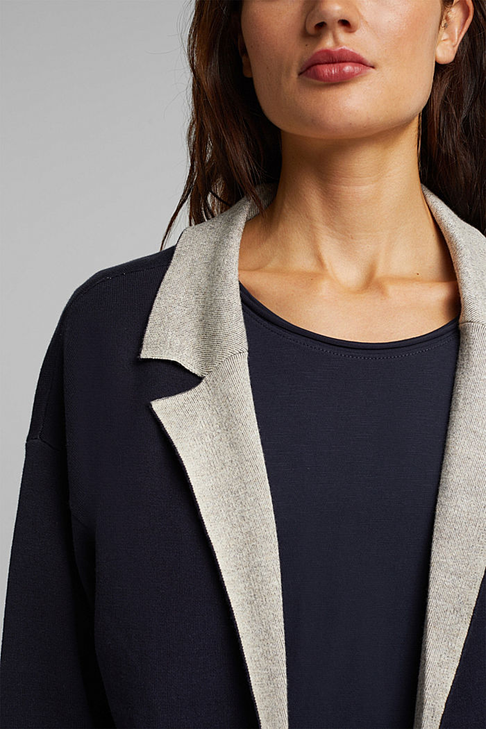Long cardigan with organic cotton, NAVY, detail image number 2