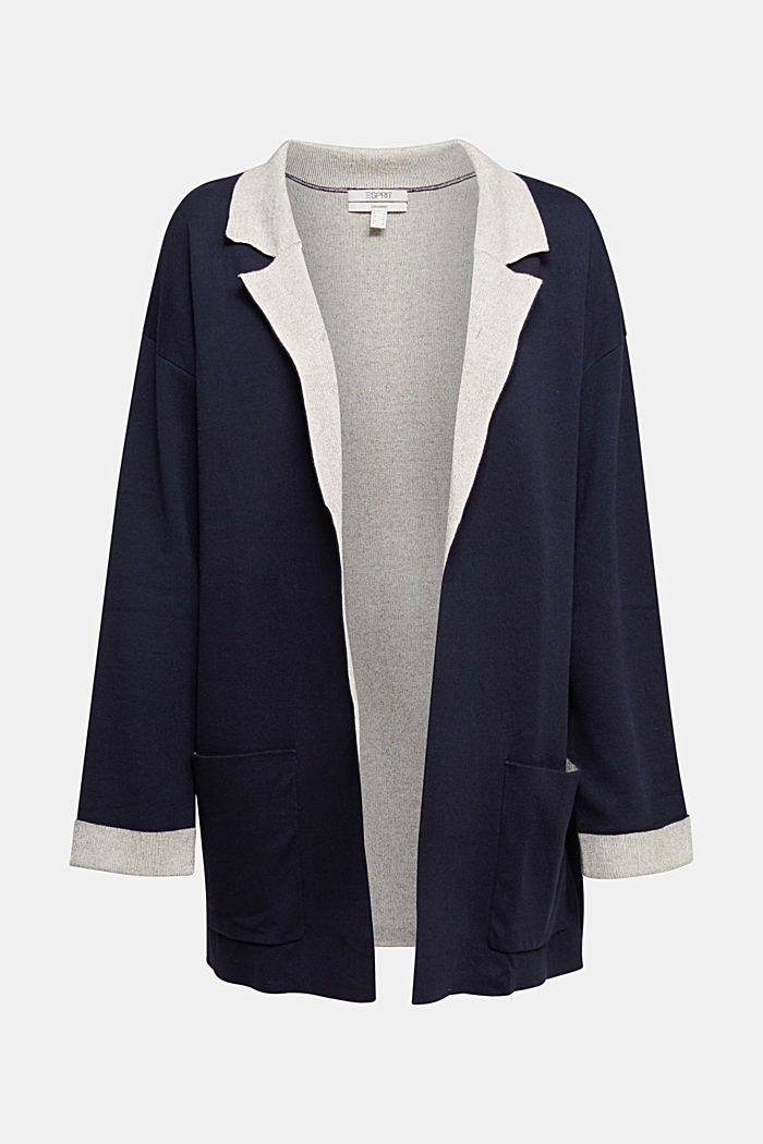 Long cardigan with organic cotton, NAVY, detail image number 7