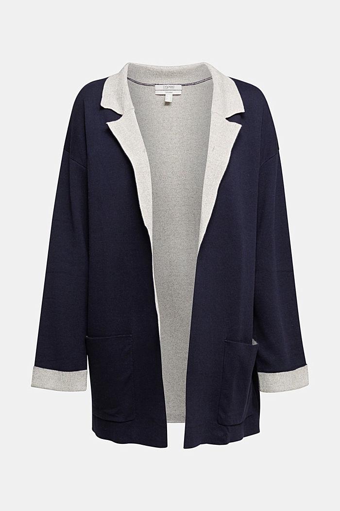 Long Cardigan mit Organic Cotton, NAVY, detail image number 7