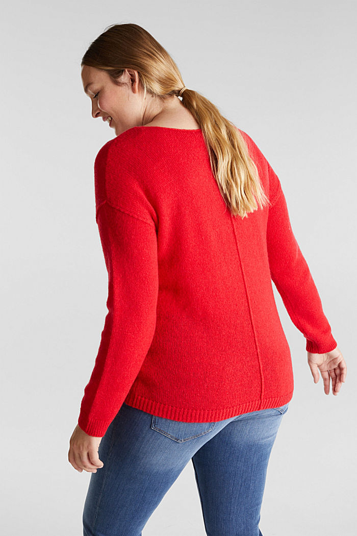 CURVY jumper with alpaca, RED, detail image number 3