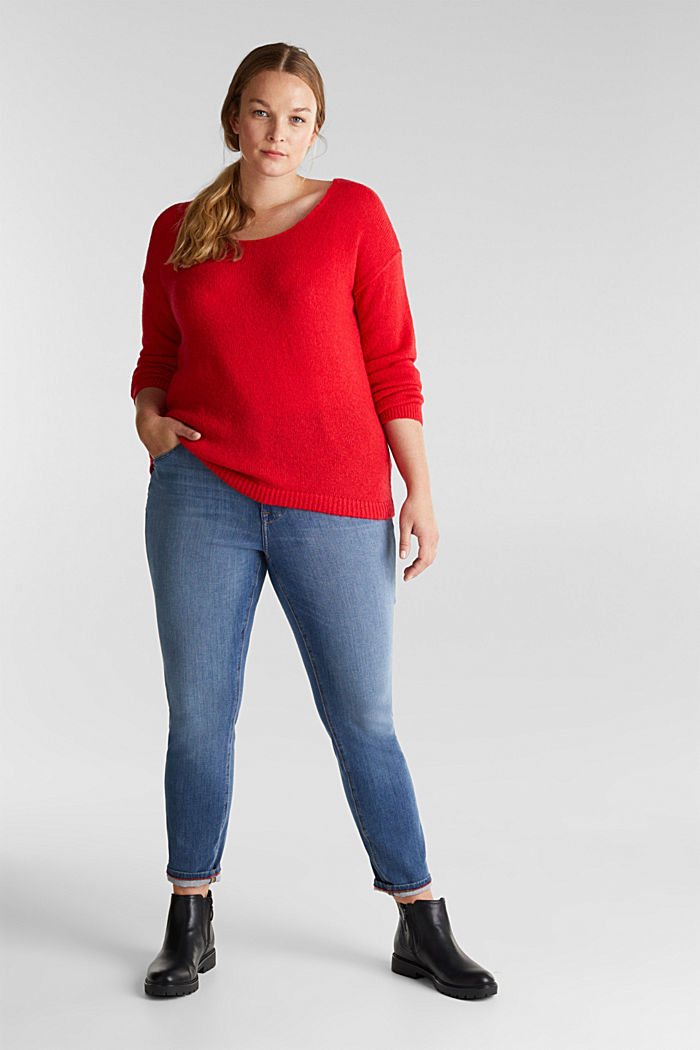 CURVY jumper with alpaca, RED, detail image number 1