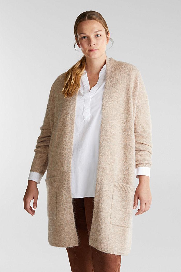 CURVY cardigan with alpaca, BEIGE, detail image number 0
