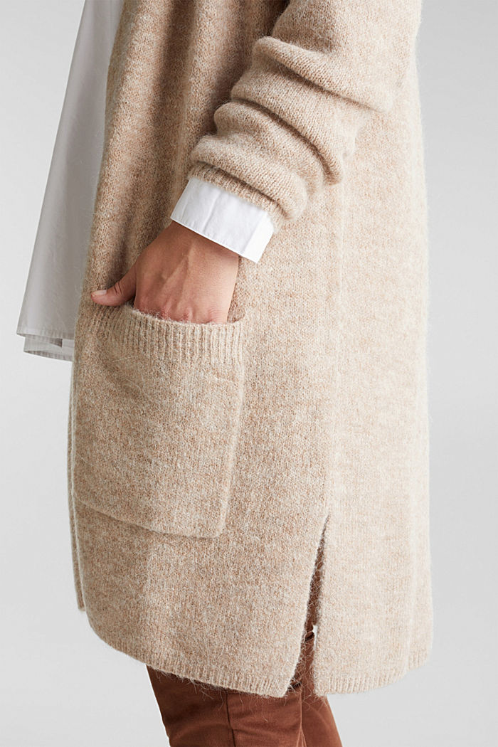 CURVY cardigan with alpaca, BEIGE, detail image number 6