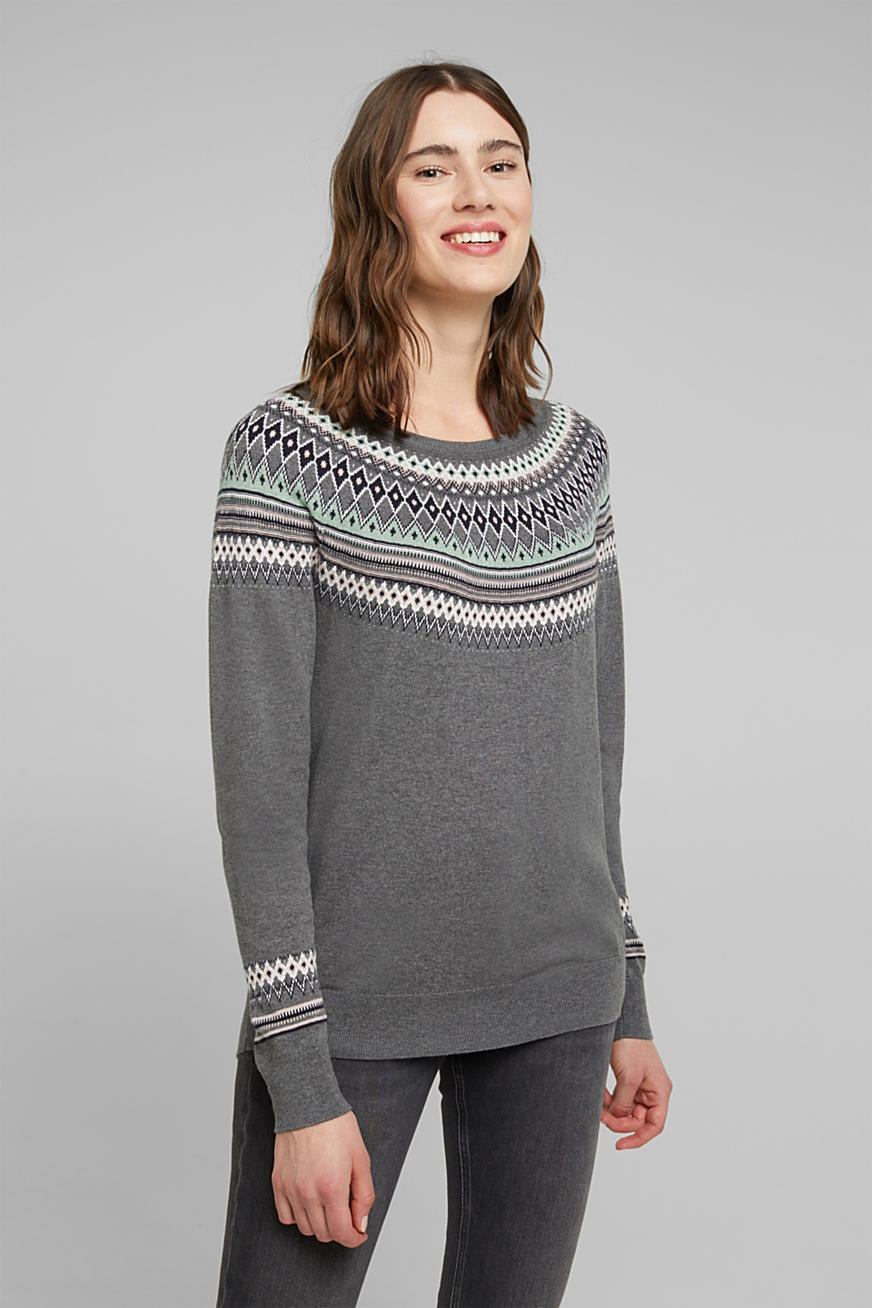 Pull-over jacquard, 100 % coton biologique
