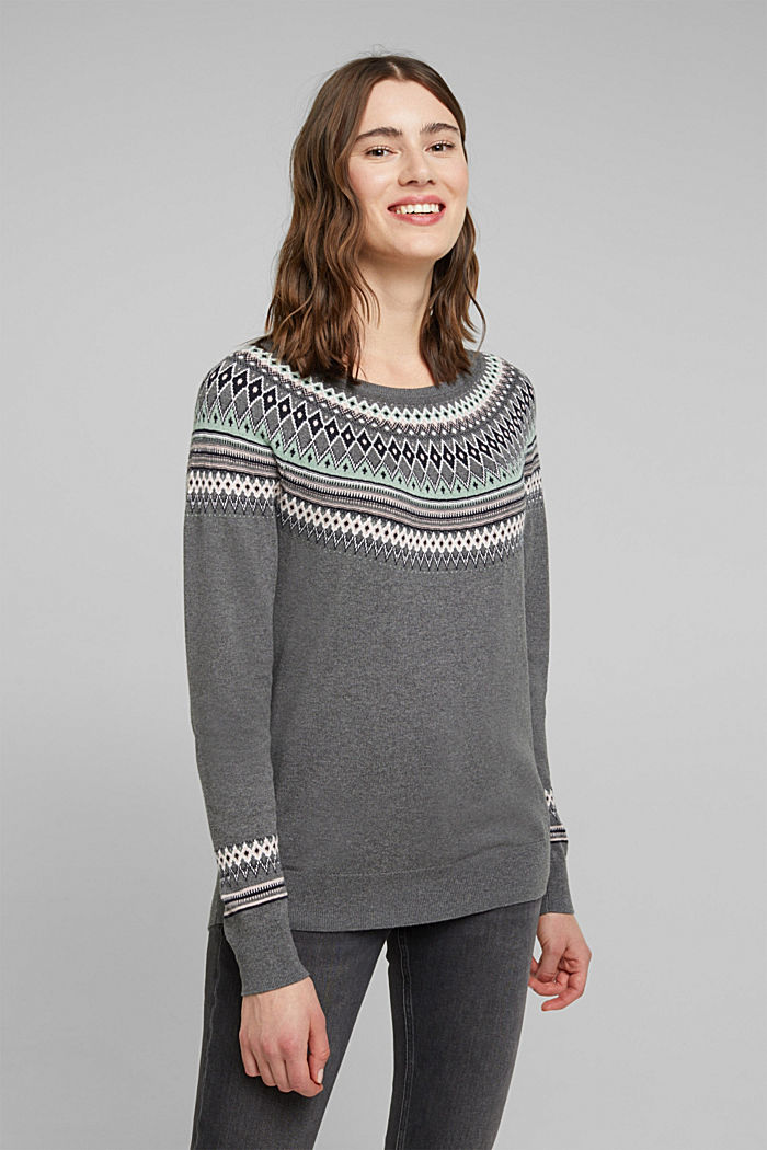 Jacquard jumper, 100% organic cotton