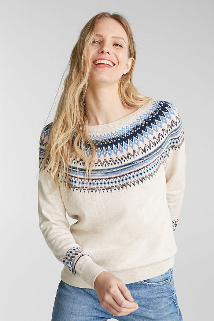 Jacquard jumper, 100% organic cotton, SAND, detail image number 0