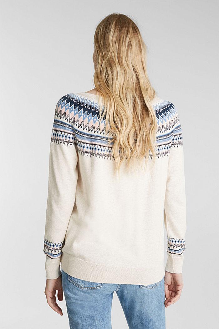 Jacquard jumper, 100% organic cotton, SAND, detail image number 3