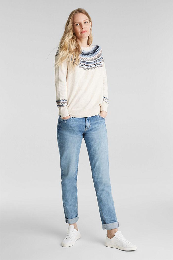 Jacquard jumper, 100% organic cotton, SAND, detail image number 1