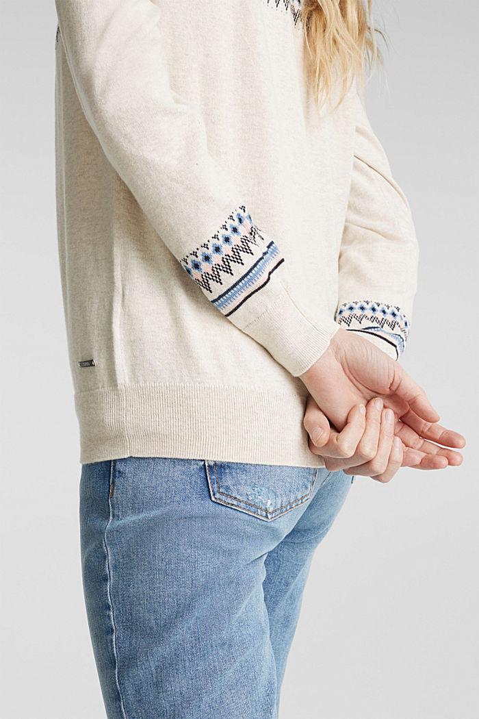 Jacquard jumper, 100% organic cotton, SAND, detail image number 5