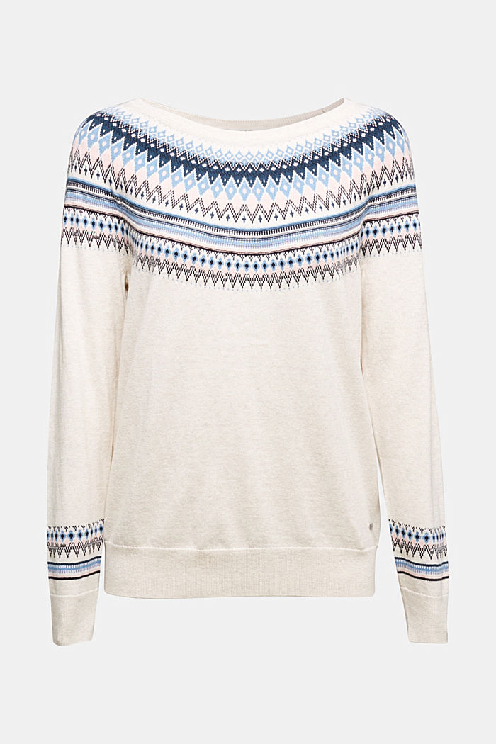 Jacquard jumper, 100% organic cotton, SAND, overview