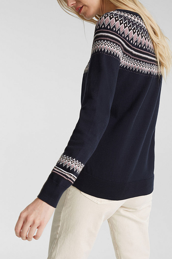 Jacquard jumper, 100% organic cotton, NAVY, detail image number 2