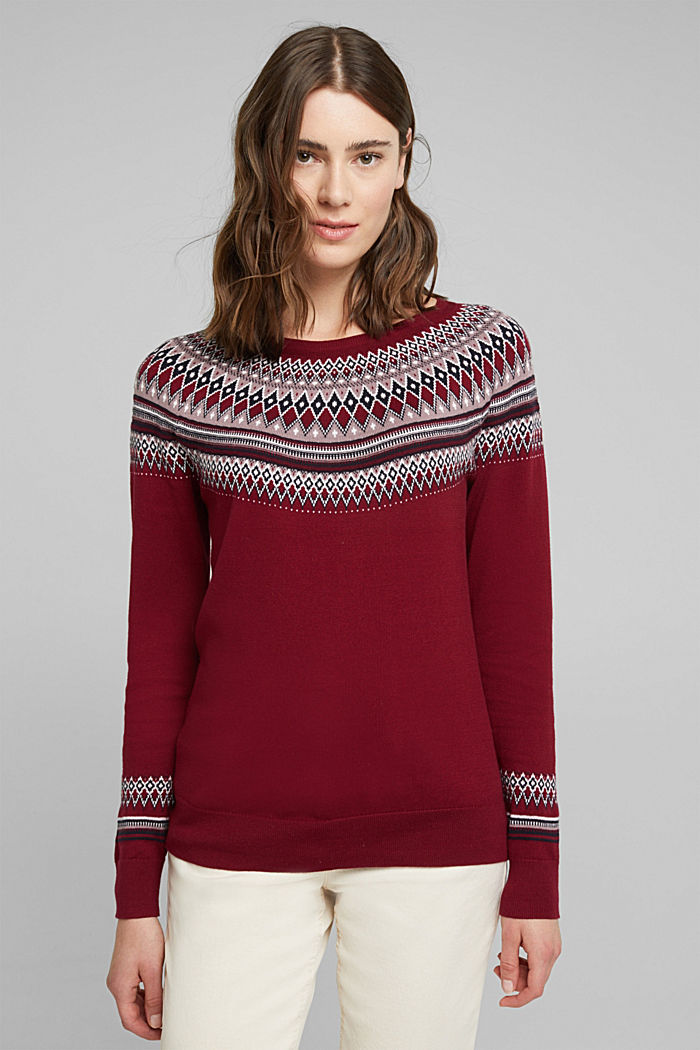 Jacquard jumper, 100% organic cotton, BORDEAUX RED, detail image number 0