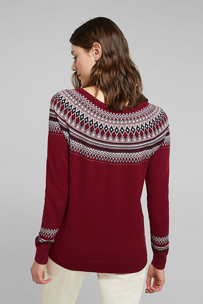 Jacquard jumper, 100% organic cotton, BORDEAUX RED, detail image number 3