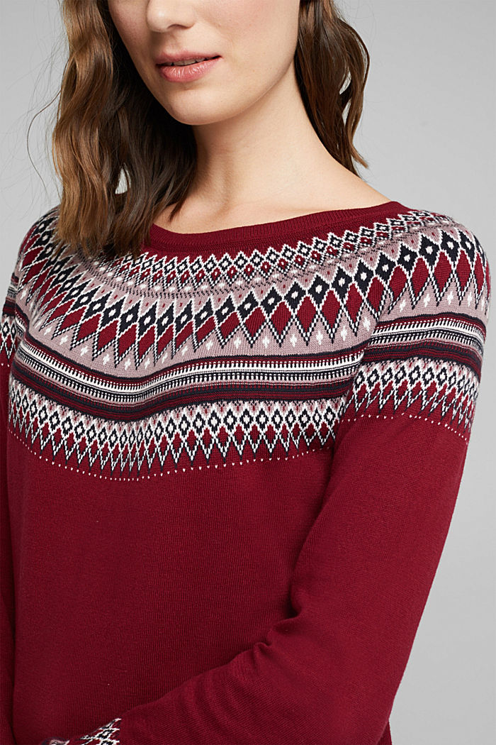 Jacquard jumper, 100% organic cotton, BORDEAUX RED, detail image number 2