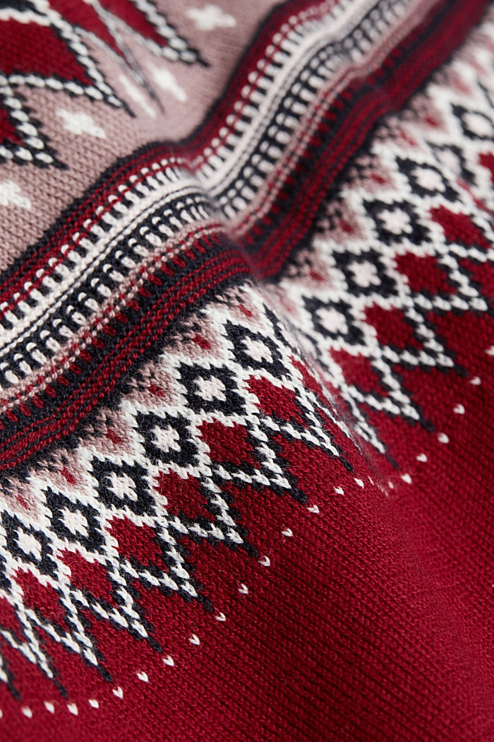 Jacquard jumper, 100% organic cotton, BORDEAUX RED, detail image number 4