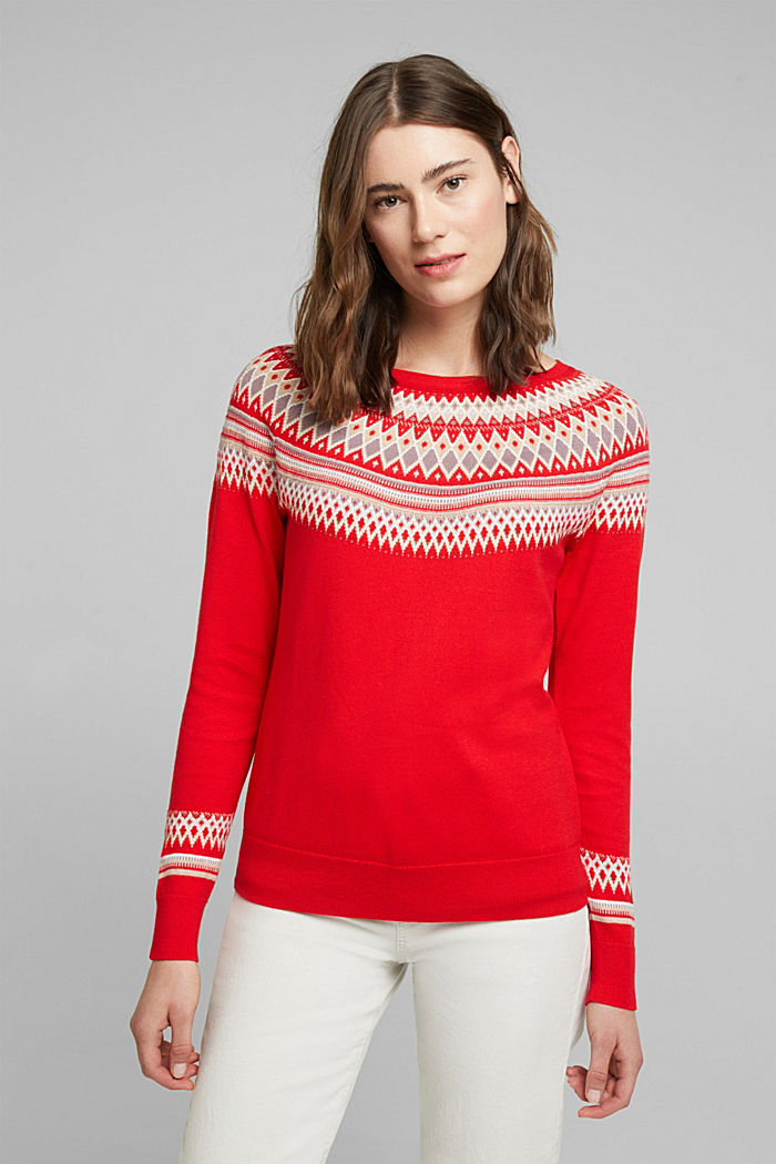 Jacquard jumper, 100% organic cotton, RED, overview