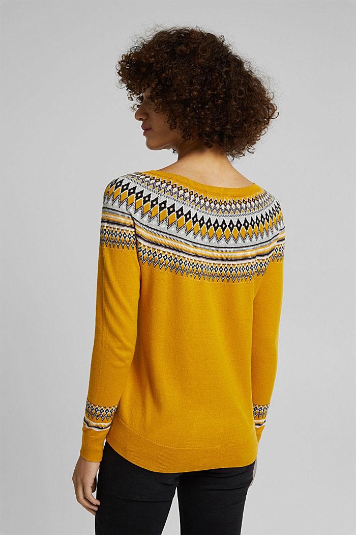 Jacquard jumper, 100% organic cotton, BRASS YELLOW, detail image number 3