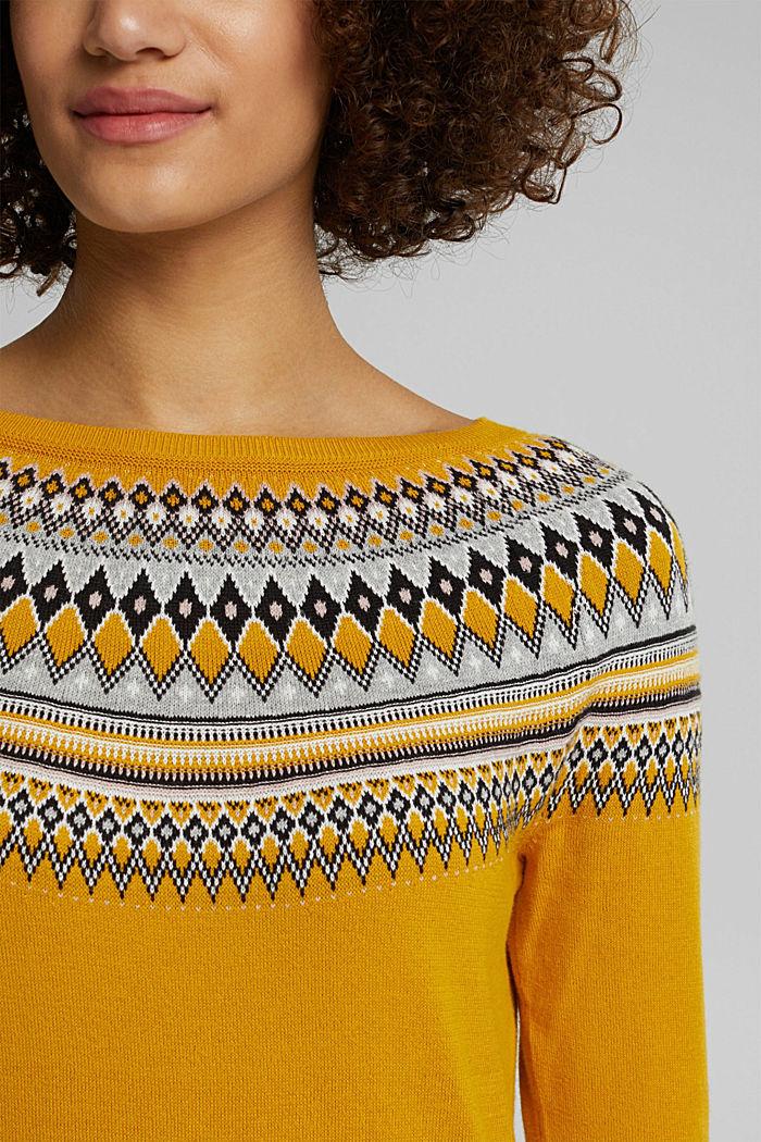 Jacquard jumper, 100% organic cotton, BRASS YELLOW, detail image number 2