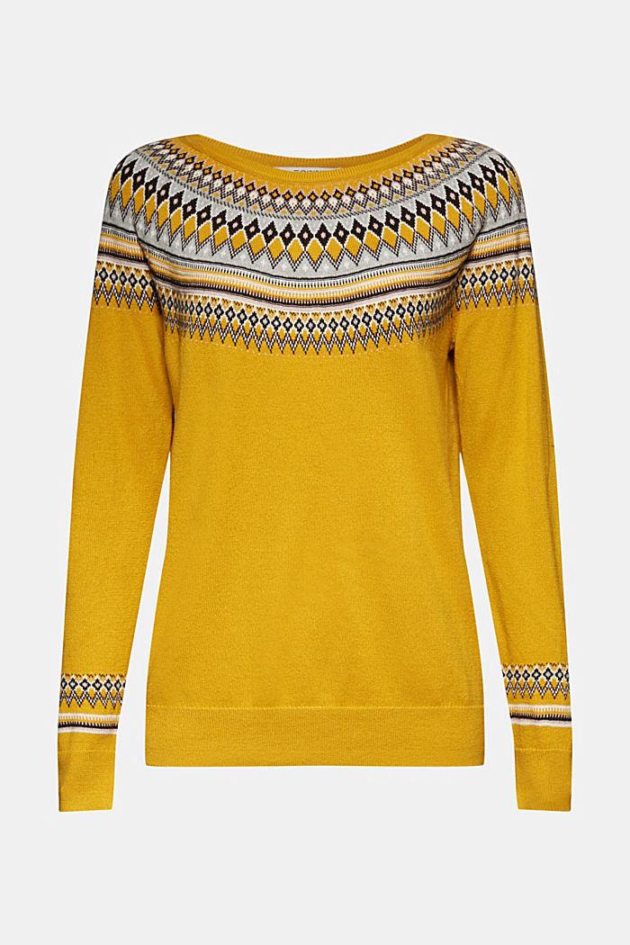 Jacquard jumper, 100% organic cotton, BRASS YELLOW, detail image number 6