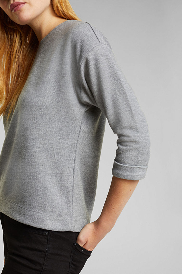Soft, brushed sweatshirt, GUNMETAL, detail image number 1