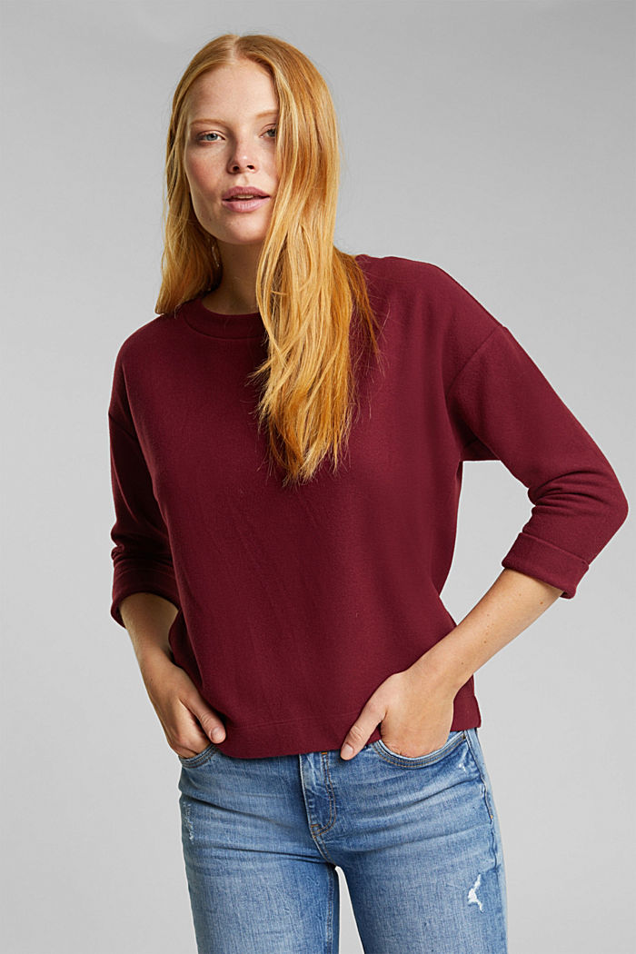 Soft, brushed sweatshirt, BORDEAUX RED, overview