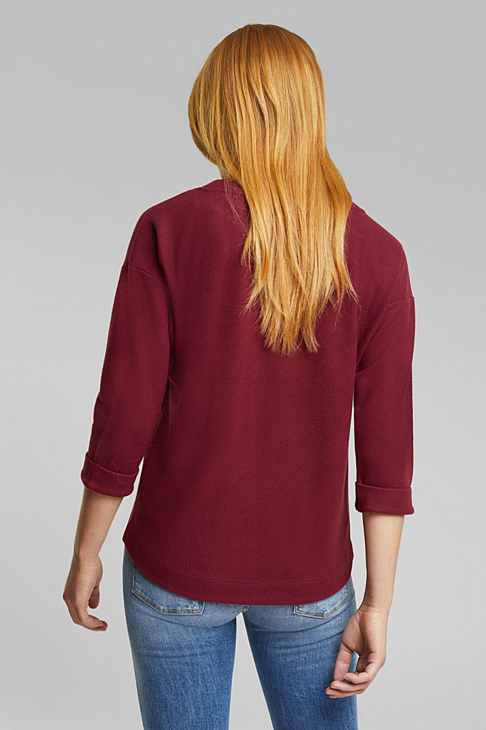 Soft, brushed sweatshirt, BORDEAUX RED, detail image number 3