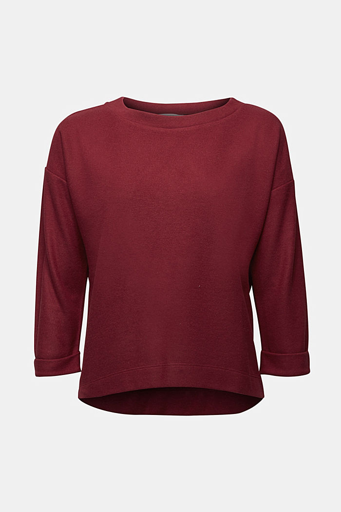 Soft, brushed sweatshirt, BORDEAUX RED, detail image number 5