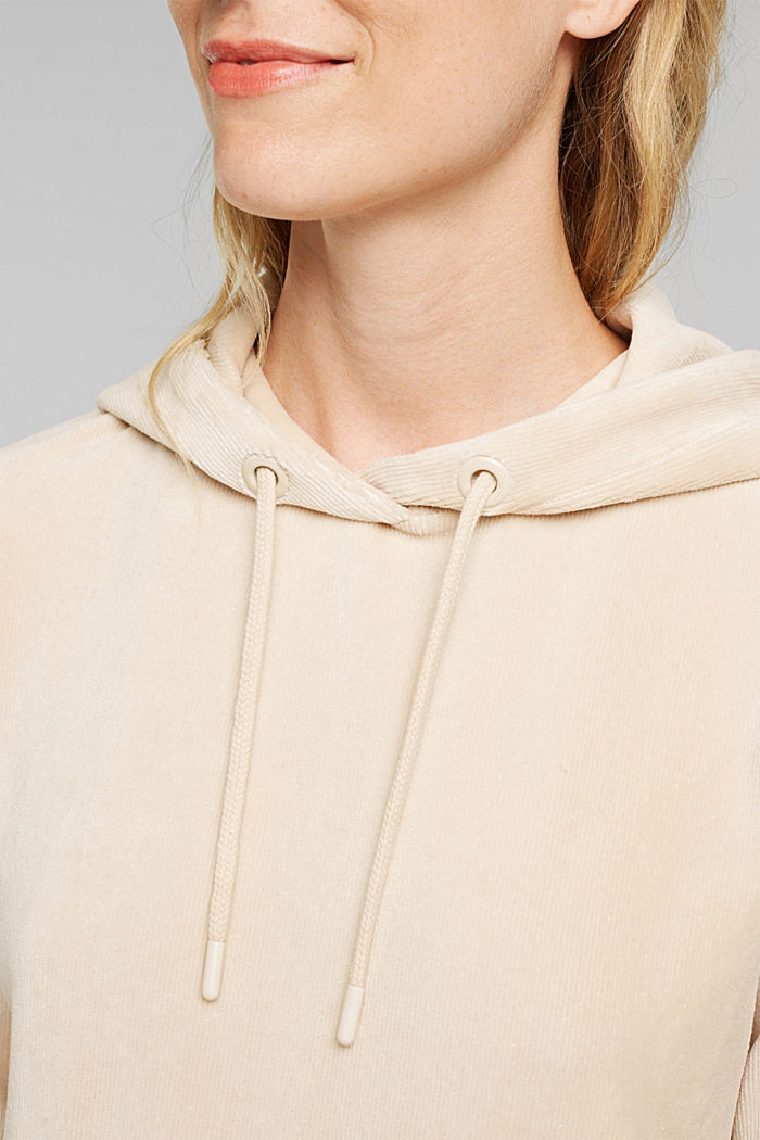 Corduroy hoodie in blended cotton, SAND, detail image number 2