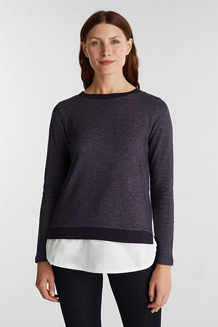 Sweatshirt in a layered look, NAVY, detail image number 0