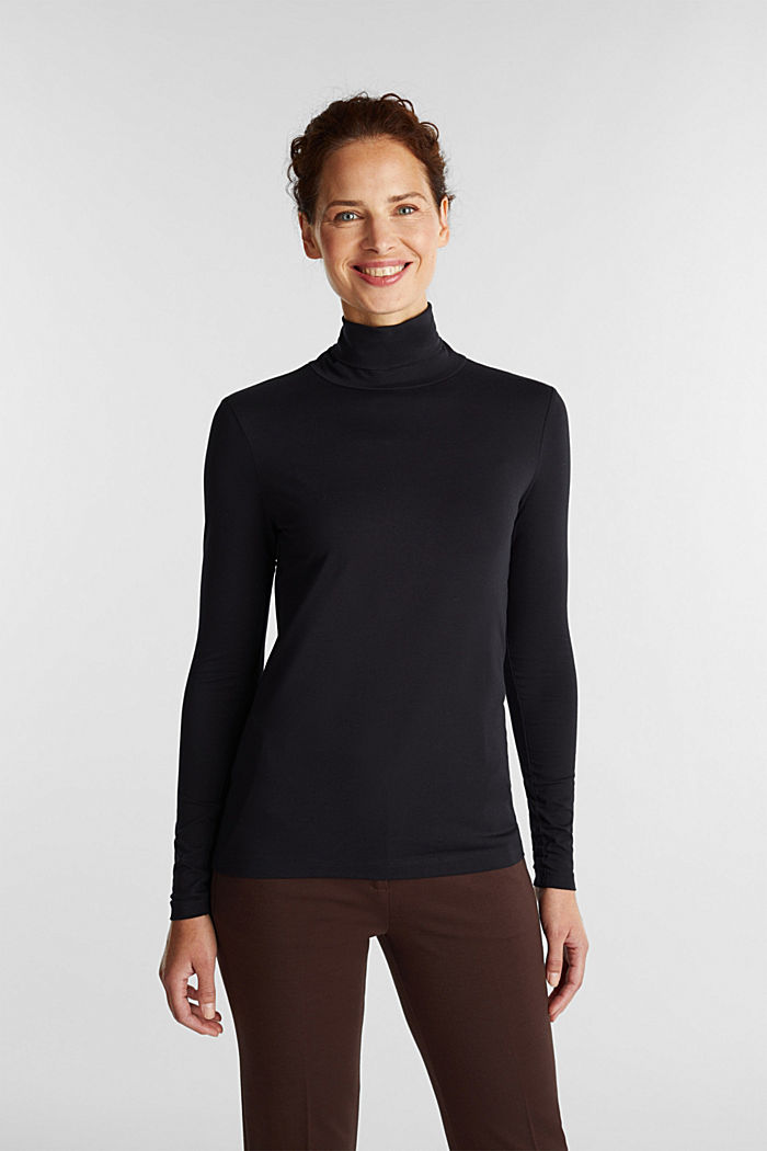 Long sleeve top with organic cotton, BLACK, detail image number 0