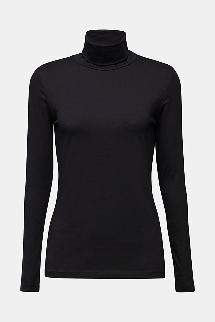 Long sleeve top with organic cotton, BLACK, detail image number 6