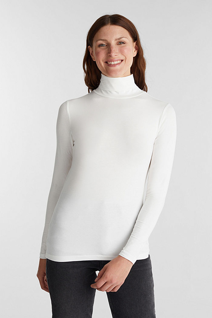 Long sleeve top with organic cotton, OFF WHITE, detail image number 0