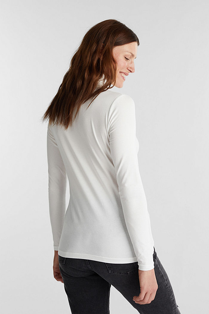 Long sleeve top with organic cotton, OFF WHITE, detail image number 3