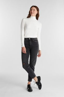 Long sleeve top with organic cotton, OFF WHITE, detail