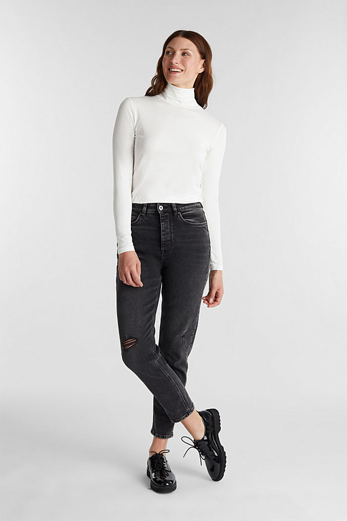Long sleeve top with organic cotton, OFF WHITE, detail image number 1