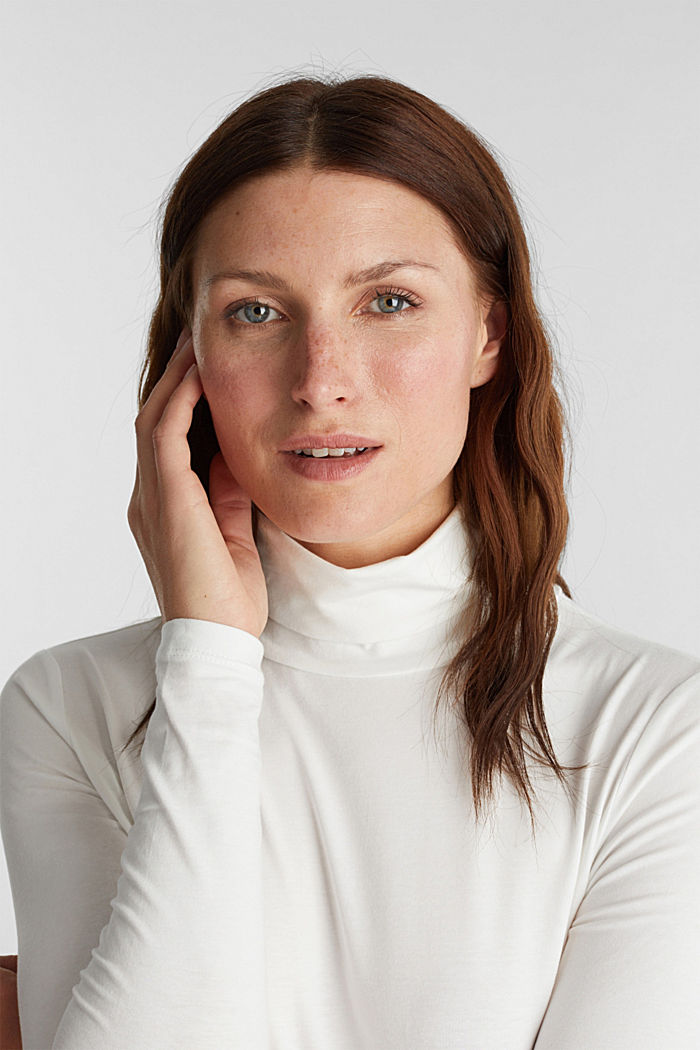Long sleeve top with organic cotton, OFF WHITE, detail image number 5