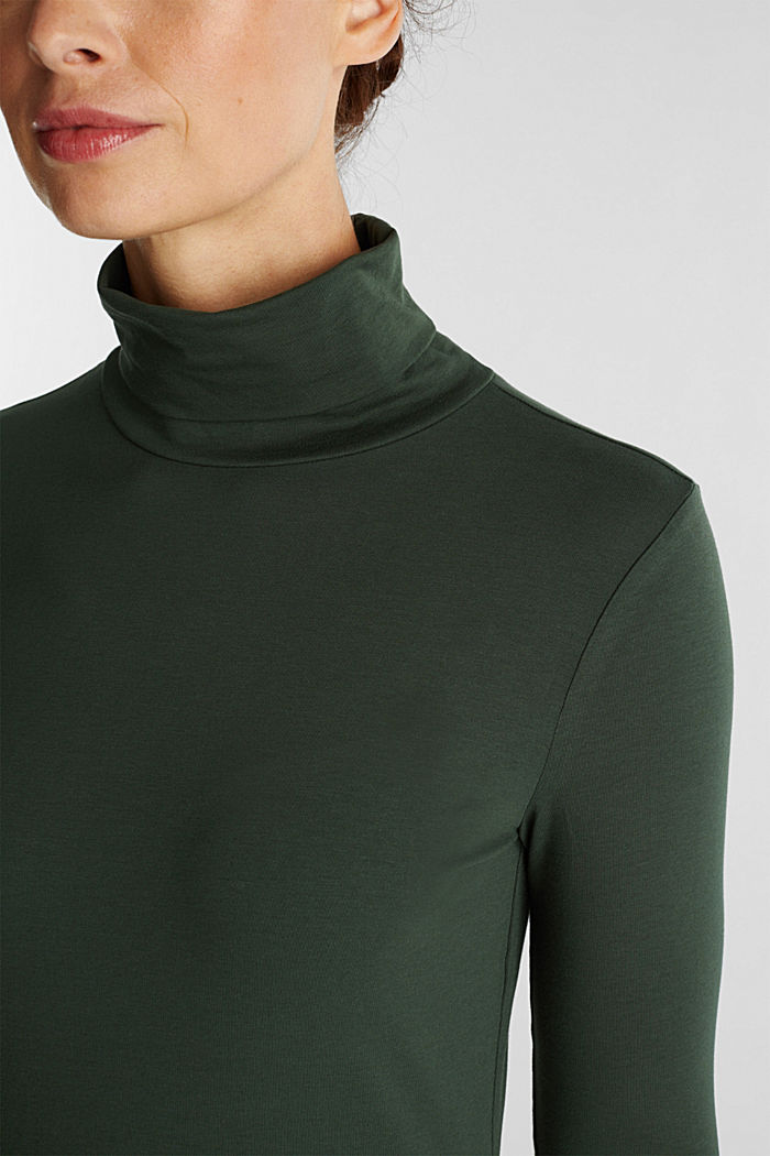 Long sleeve top with organic cotton, DARK GREEN, detail image number 5