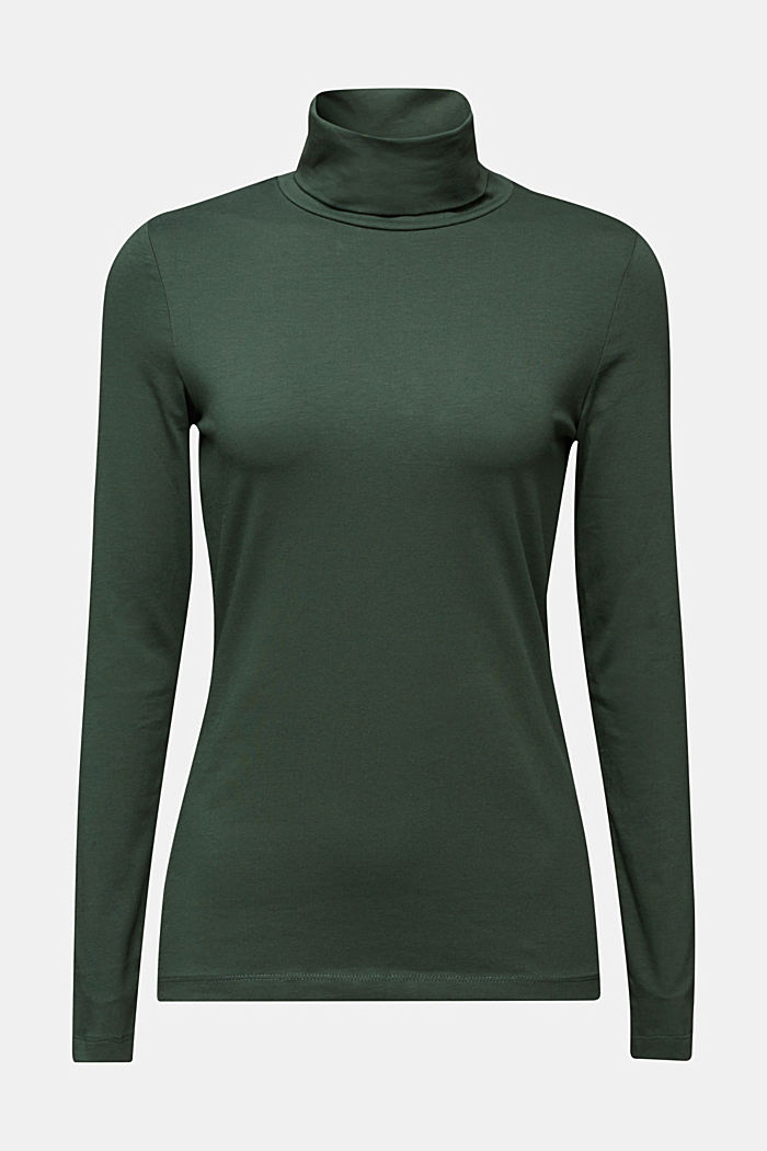 Long sleeve top with organic cotton, DARK GREEN, detail image number 6