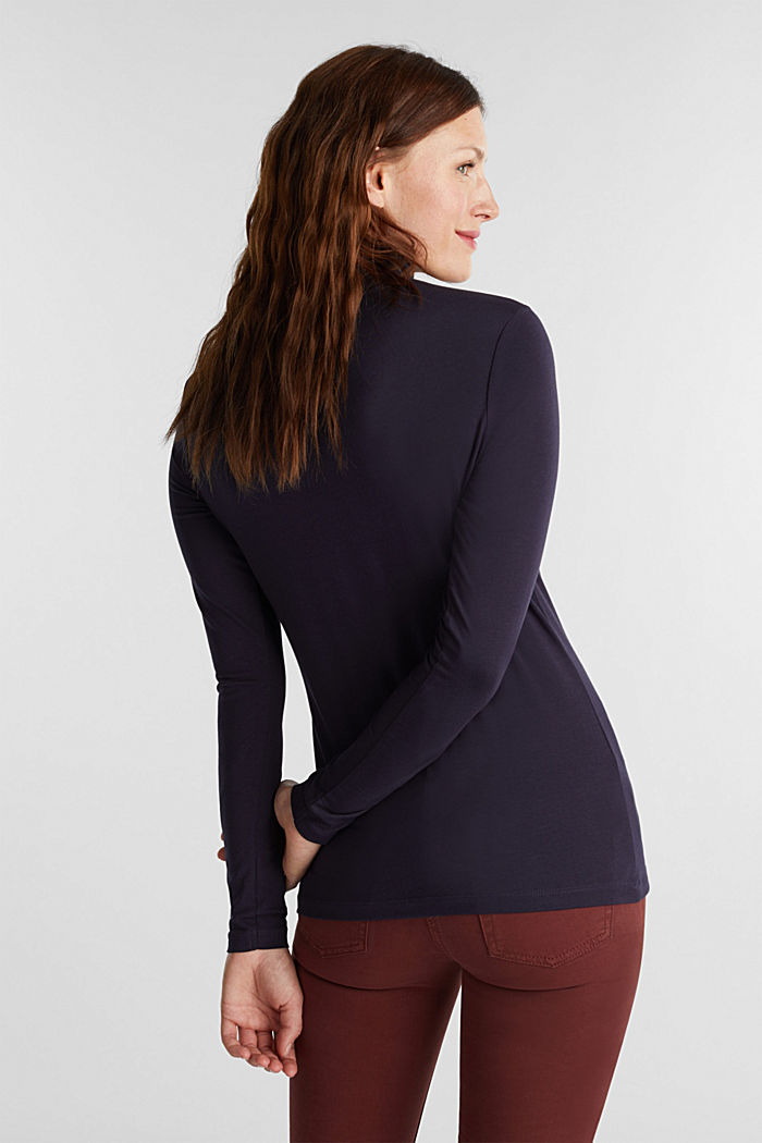 Long sleeve top with organic cotton, NAVY, detail image number 3