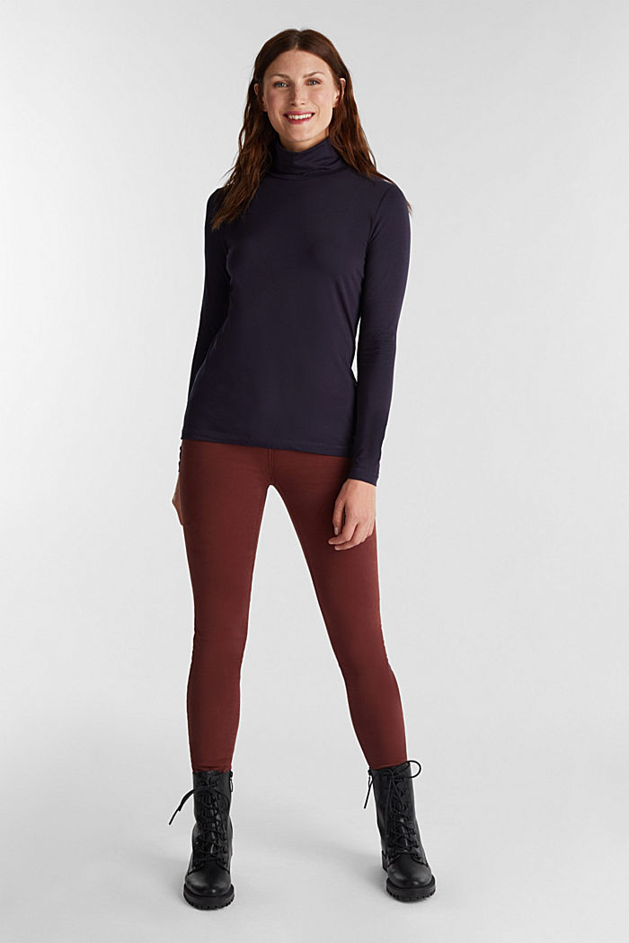 Long sleeve top with organic cotton, NAVY, detail image number 1