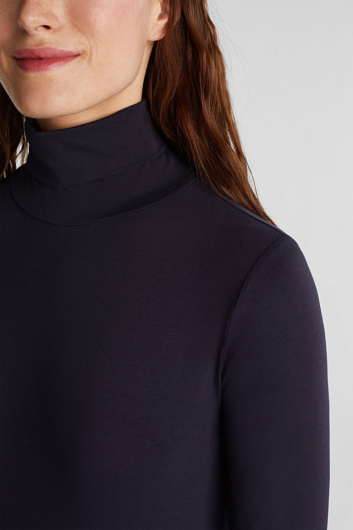 Long sleeve top with organic cotton, NAVY, detail image number 2