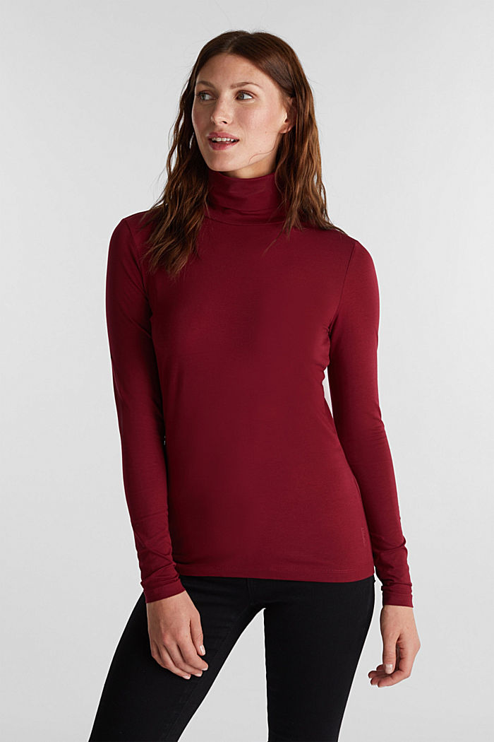 Long sleeve top with organic cotton, BORDEAUX RED, detail image number 0