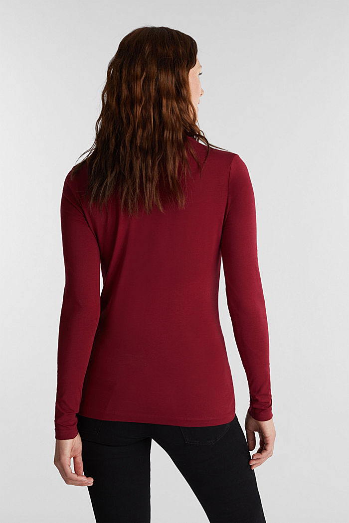 Long sleeve top with organic cotton, BORDEAUX RED, detail image number 3