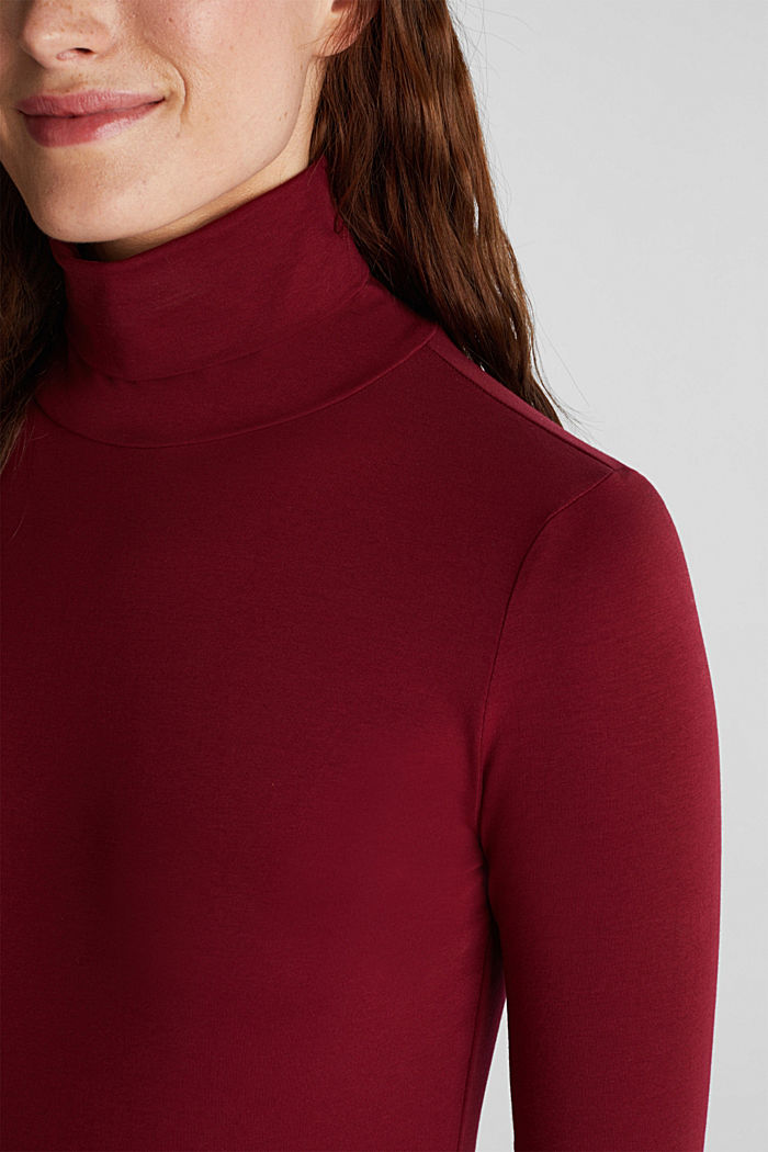 Long sleeve top with organic cotton, BORDEAUX RED, detail image number 2