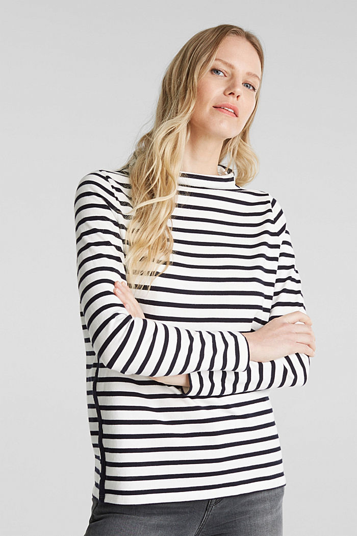 Striped long sleeve top with a band collar, OFF WHITE, detail image number 0